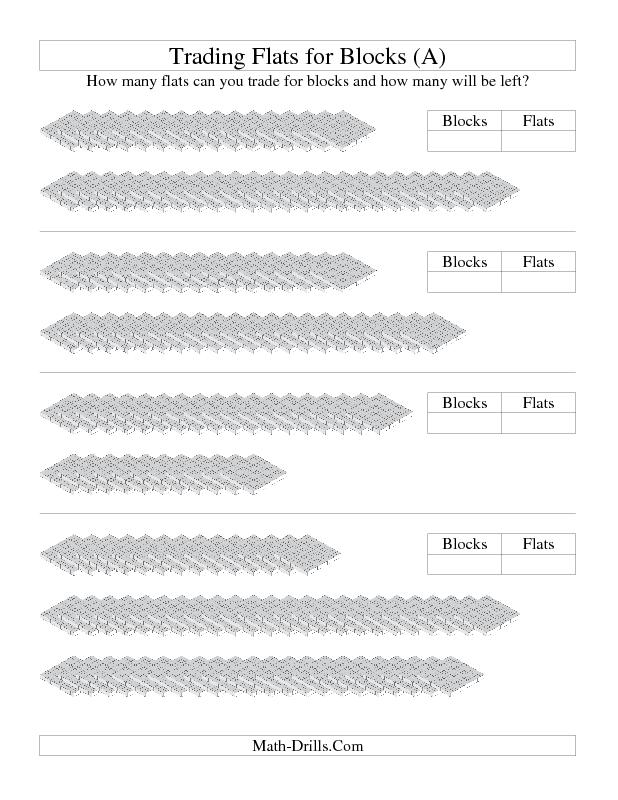 math worksheet : base ten blocks worksheet  trading flats for blocks a  4th  : Division With Base Ten Blocks Worksheets