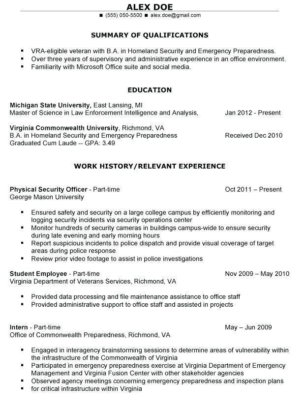 Resume Examples Veterans | resume examples | Pinterest | Resume examples