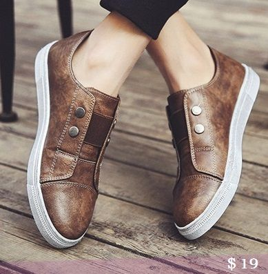 US $19 Urban Casual Shoes Genuine Leather Menbusiness Slip On Flat Shoes Hip Hop Pure Black Simple Style Genuine Leather Shoes