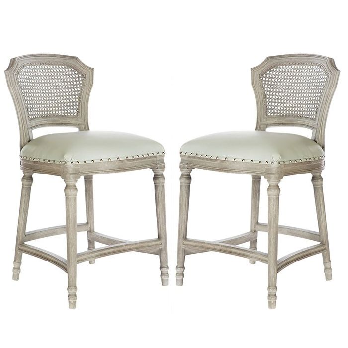 Brilliant Gray Wash Cane Back Counter Stools Shabby Chic In 2019 Gmtry Best Dining Table And Chair Ideas Images Gmtryco