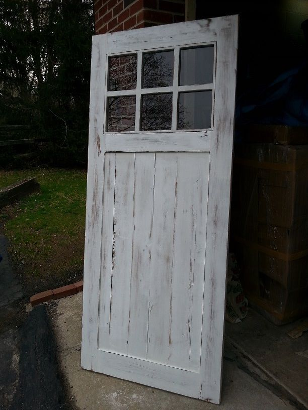 Antique Reclaimed Century Barn Wood Amish Built Unfinished Interior Barn  Door With Upper Glass Lite Panels