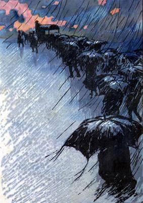 """Henri Rivière's color woodblock print """"Funeral with Umbrellas"""""""