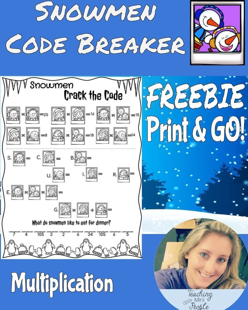 Snowman Code Breaker Freebie Students Use Math Skills To Figure Out The Worth Of Each Snowman And Use That Information Winter Themed Math Math Winter Theme