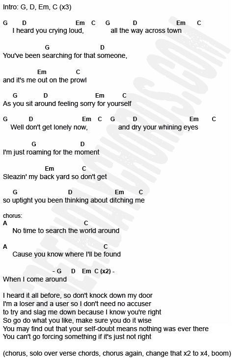 When I Come Around By Green Day Chords And Lyrics Electric Guitar