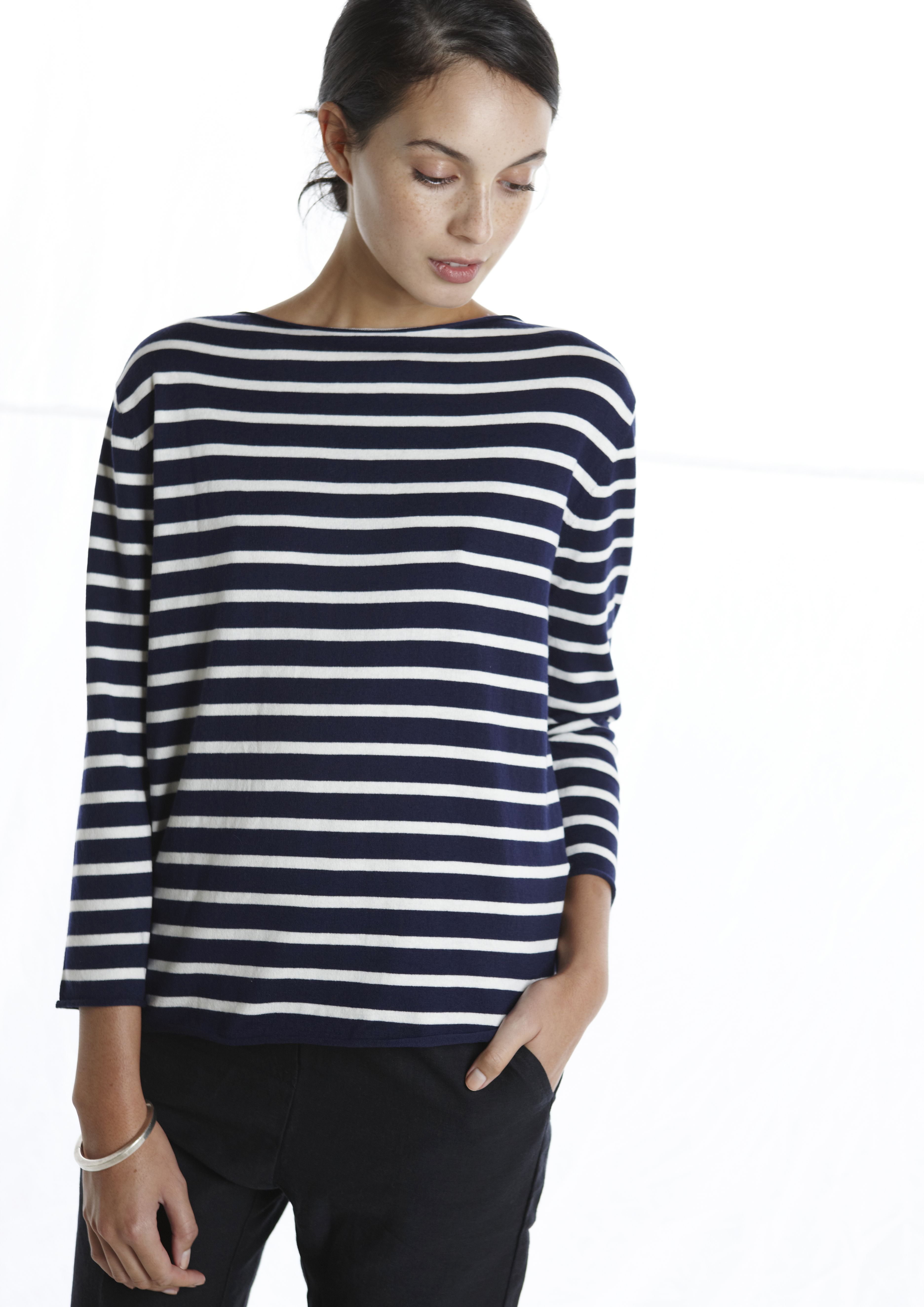 Resort Boatneck navy/white Striped top, Navy and white