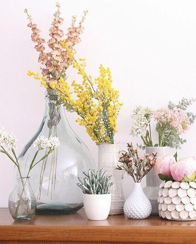 Mimosa artificial decoraci n decoracion flores - Decoracion de jarrones con flores artificiales ...