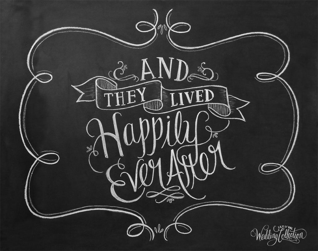 Wedding Art And They Lived Happily Ever After By Lilyandval Happiness Wall Art Lily And Val Chalkboard Art