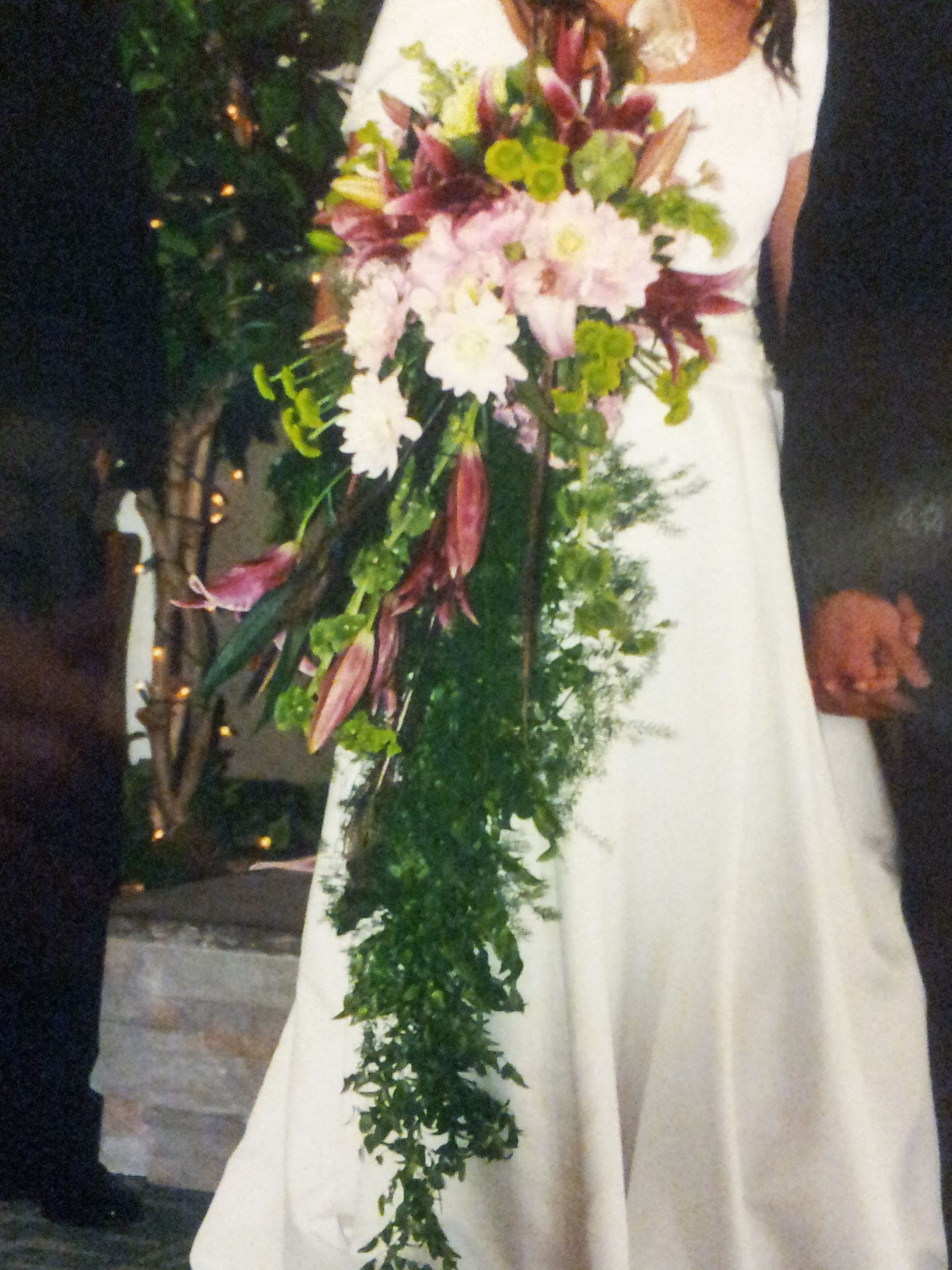 Floor Length Cascading Wedding Bouquet