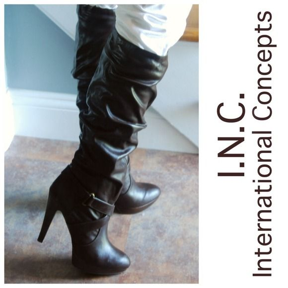"""PRICE IS FIRM  INC brown vegan tall slouch boots For daring fashionistas, these boots by INC feature a ruched, molten lava-like look & an ultra-femme stiletto. Espresso brown. Top 2 pics are of actual boots. Man-made upper, sole Tall almond-toe boots Buckled strap detail at ankle Shaft: 14"""" high, 7"""" across 3/4"""" platform, 4-1/2"""" & heel creating 3 3/4"""" heel feel (Measurements are approx. because they can vary by size. Boots will ship only in their original box unless box is not in a condition…"""