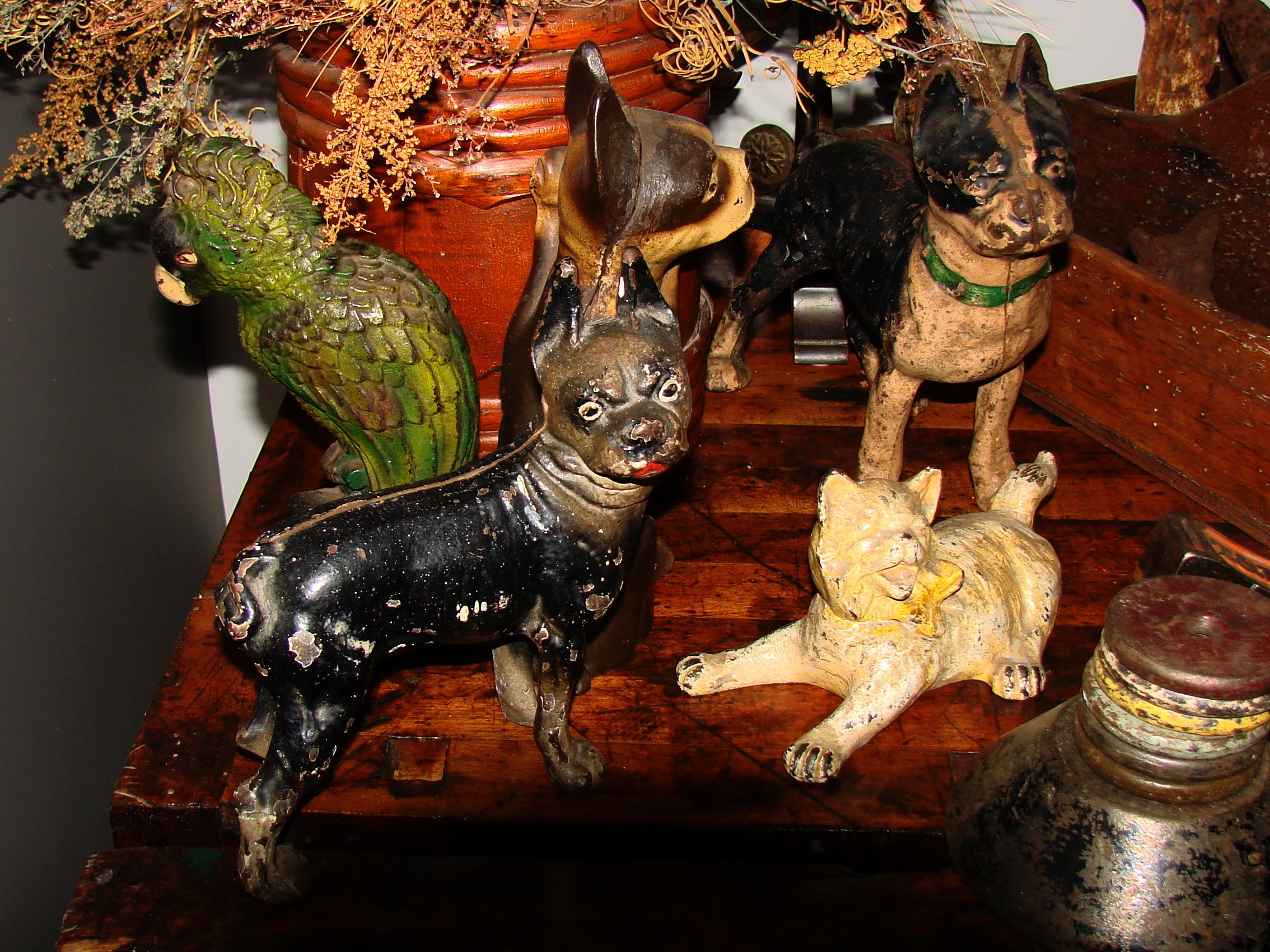 A Very Nice Grouping Of Antique Cast Iron Doorstops In Original