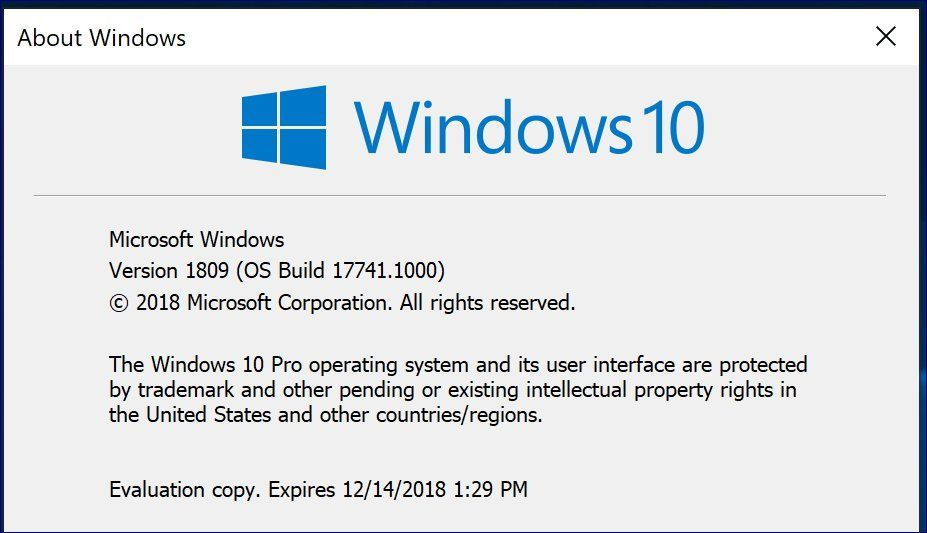 Windows 10 build 17741 confirms, RS5 could be Windows 10