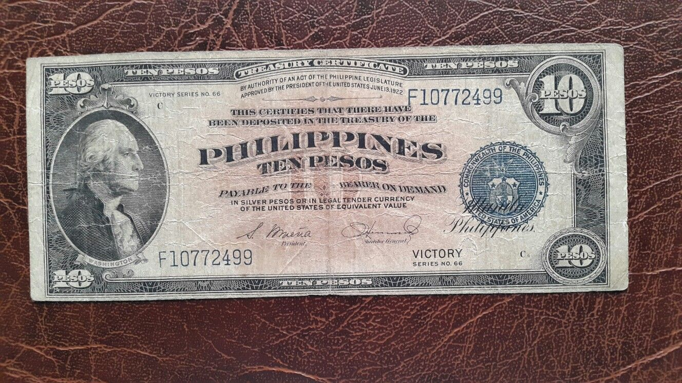 10 Pesos Currency When The Philippines Was A U S Commonwealth