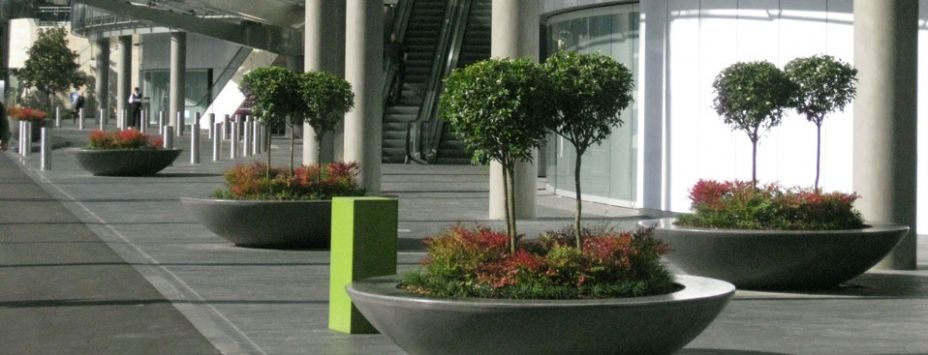 Circular planter integrated with seating - can be located at public open spaces | Landscape Furniture | Concrete planter boxes, Planter boxes
