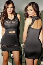 Black Lace Insert Sexy Cutout Mini Dress