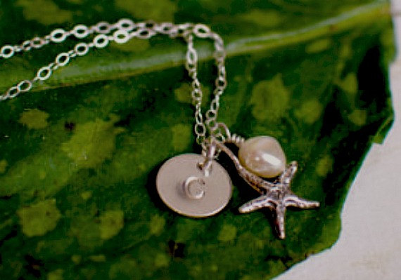 Sterling Silver Initial Necklace with Starfish by AnoushkaDesigns