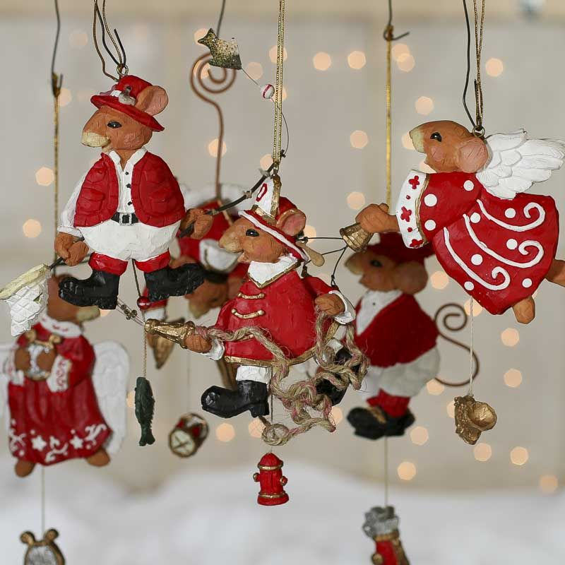 Moveable Faux Carved Mouse Ornament CHRISTMAS AND DECORATIONS - christmas decorations sale