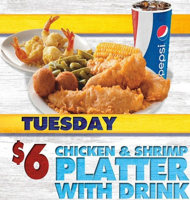 Long John Silver S Tuesday Special 6 Chicken And Shrimp Platter With Drink Longjohnsilvers Special Betterfis Chicken And Shrimp Tuesday Specials Platters