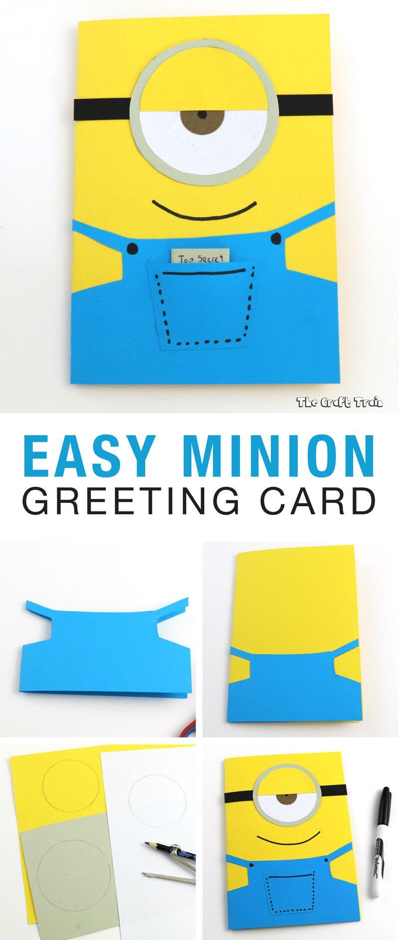 Easy Minion Greeting Card Happy Birthday Cards Diy Dad Birthday Card Minion Card