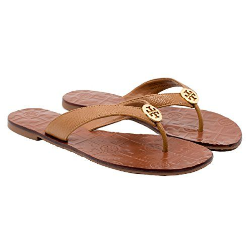 c31b82a86 Tory Burch Thora Flip Flops Saffiano Leather Thong Sandals 7 Royal Tan      Click image for more details.
