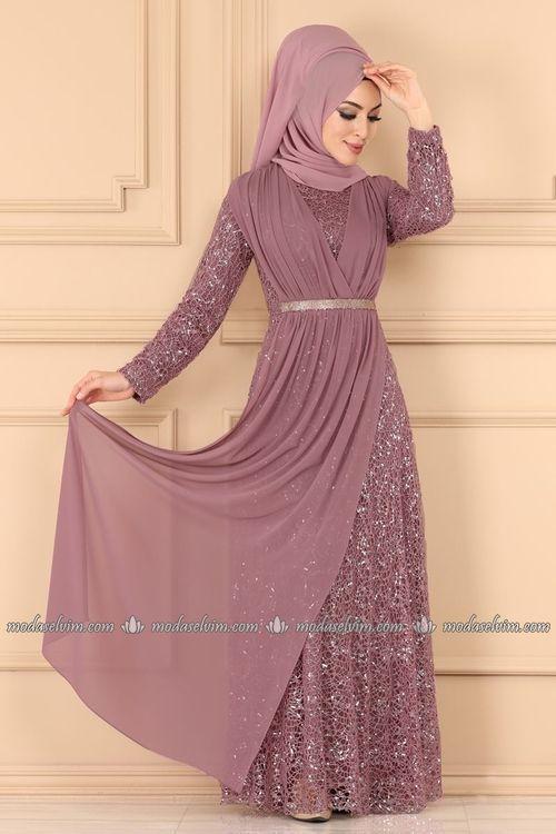Modaselvim Abiye Kruvaze Detayli Tesettur Abiye 7360eh211 Gul Kurusu Model Pakaian Hijab Model Pakaian Model Baju Wanita