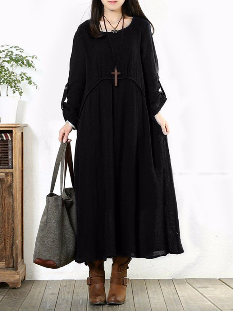 b40f1d32718 Women Vintage Baggy Cotton Long Sleeve Loose Maxi Dresses
