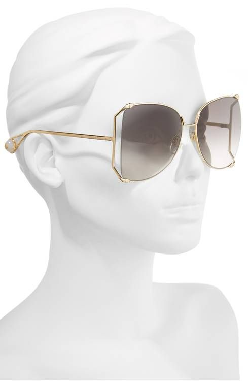 eeec18f35b Gucci 63mm Gradient Oversize Butterfly Sunglasses
