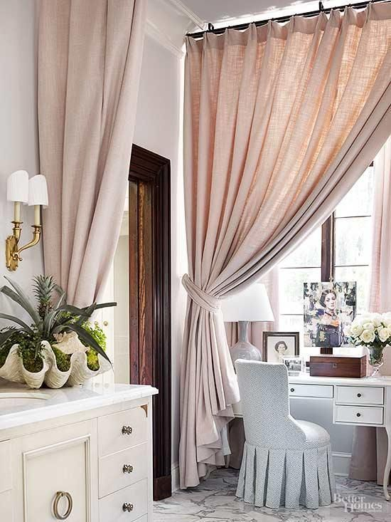 Heavy bathroom window curtains in pale pink separate this ...