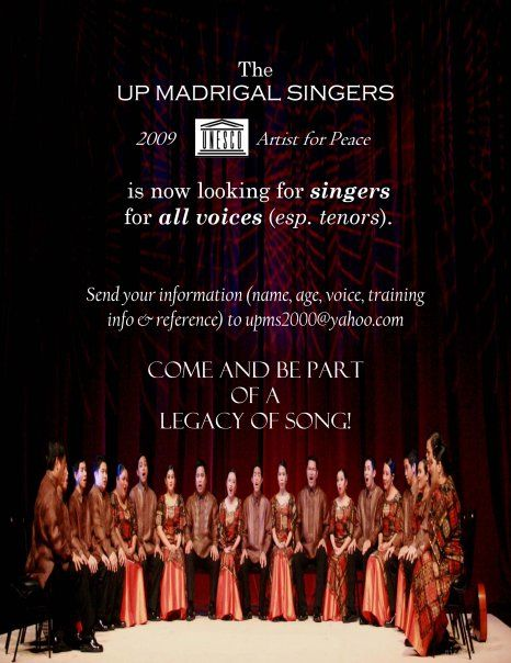 Auditions are open for Madrigal Singers   in the Philippines
