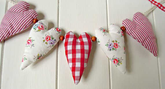 Fabric Heart Garland/ Reds and Cath Kidston by RubyRedcrafts, $10.00