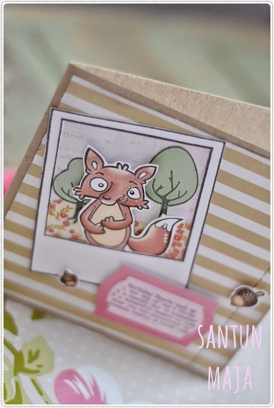 Santun Maja: Kettukortti  Lawn Fawns fox, birthday card