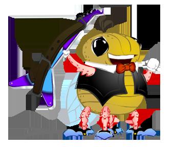 Cigarra. Personaje para videojuego didáctico basado en la fábula de La Fontaine.