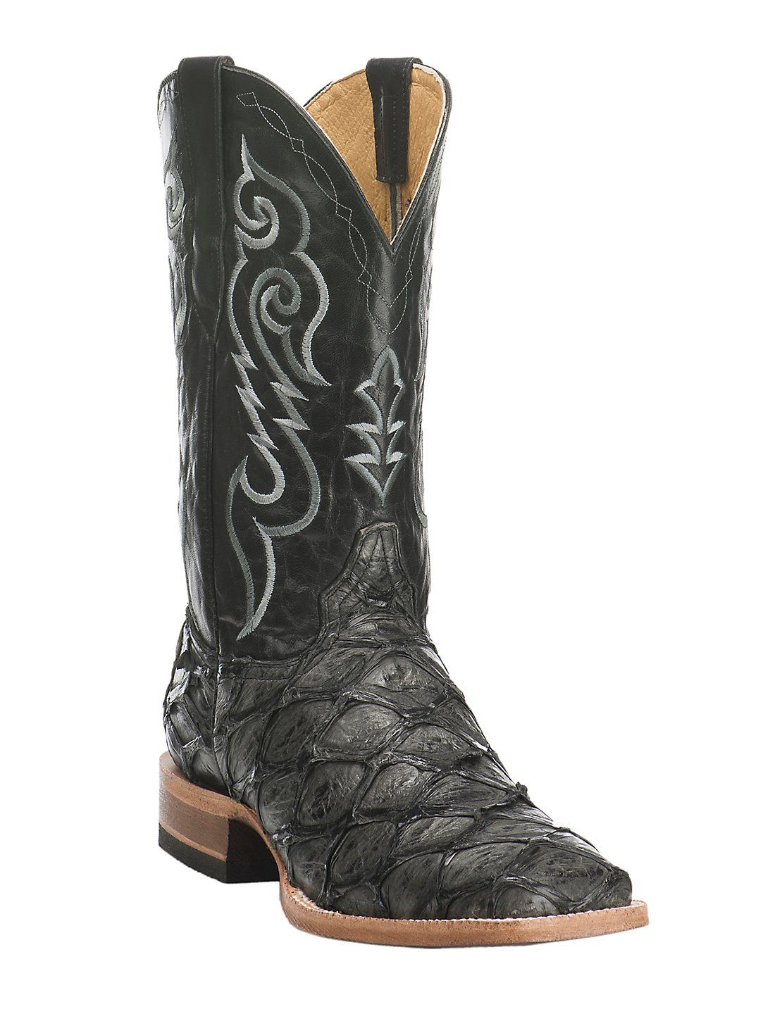 750566c1187 Cavender's Men's Hubbard Black Pirarucu Exotic Square Toe Boots ...