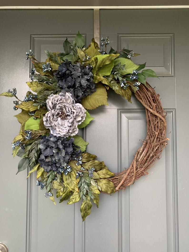 Photo of Wreaths for Front Door, Spring Wreath, Hydrangea wreath, hydrangea wreath for front door, Spring Wreaths for Front Door, Spring Wreath