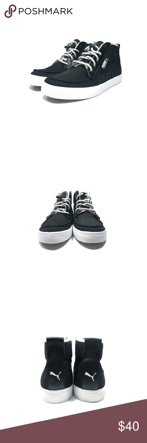 c8ef3b3fcb4a Men s Puma Canvas Sneakers Black White Size 8 1 2 - New - Color  Black Gray  White - Size  8 1 2 - Does not include original box - 100% Authentic  Guaranteed ...