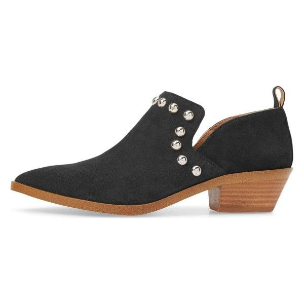 dcecdf43027 Black Suede Block Heel Boots Studs Shoes Pointy Toe Ankle Booties for Work