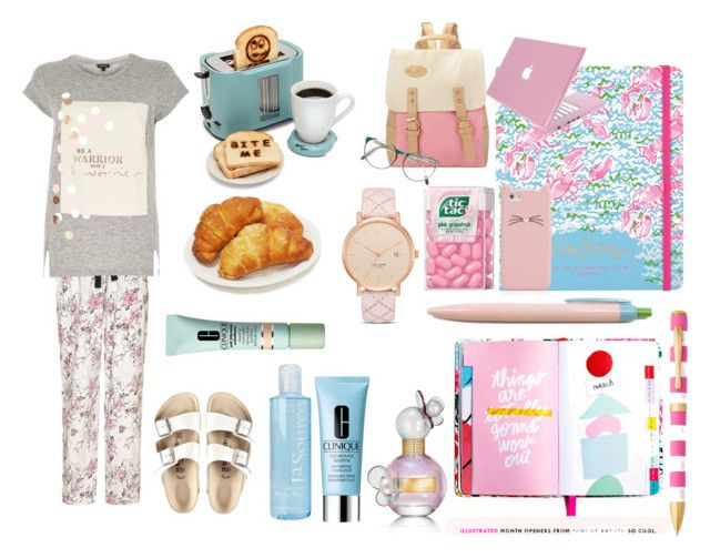 """""""First day of school, breakfast!"""" by nathalie-puex ❤ liked on Polyvore featuring ban.do, Lilly Pulitzer, Yumi, Kate Spade, Marc Jacobs, Clinique, Crabtree & Evelyn, River Island and Birkenstock"""