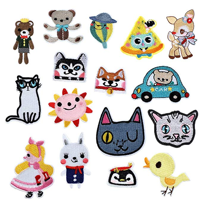 Kawaii Cat Patches DIY Iron on Clothes Jeans Bag Embroiderd Applique
