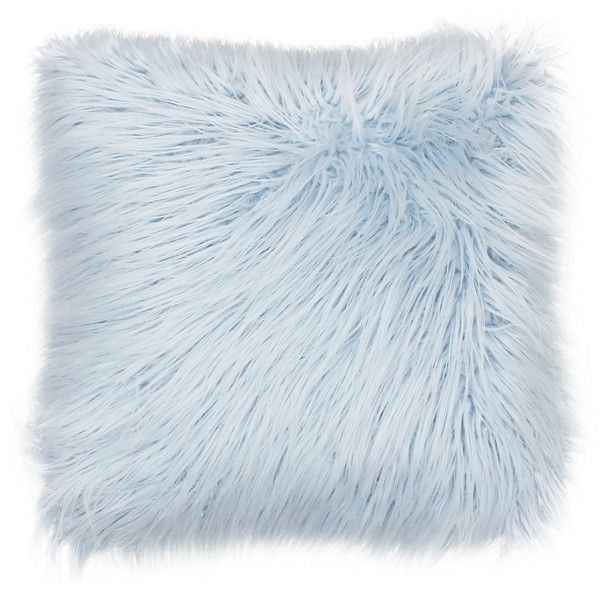 light blue throw pillows Light Blue Keller Faux Fur Pillow ($35) ❤ liked on Polyvore  light blue throw pillows
