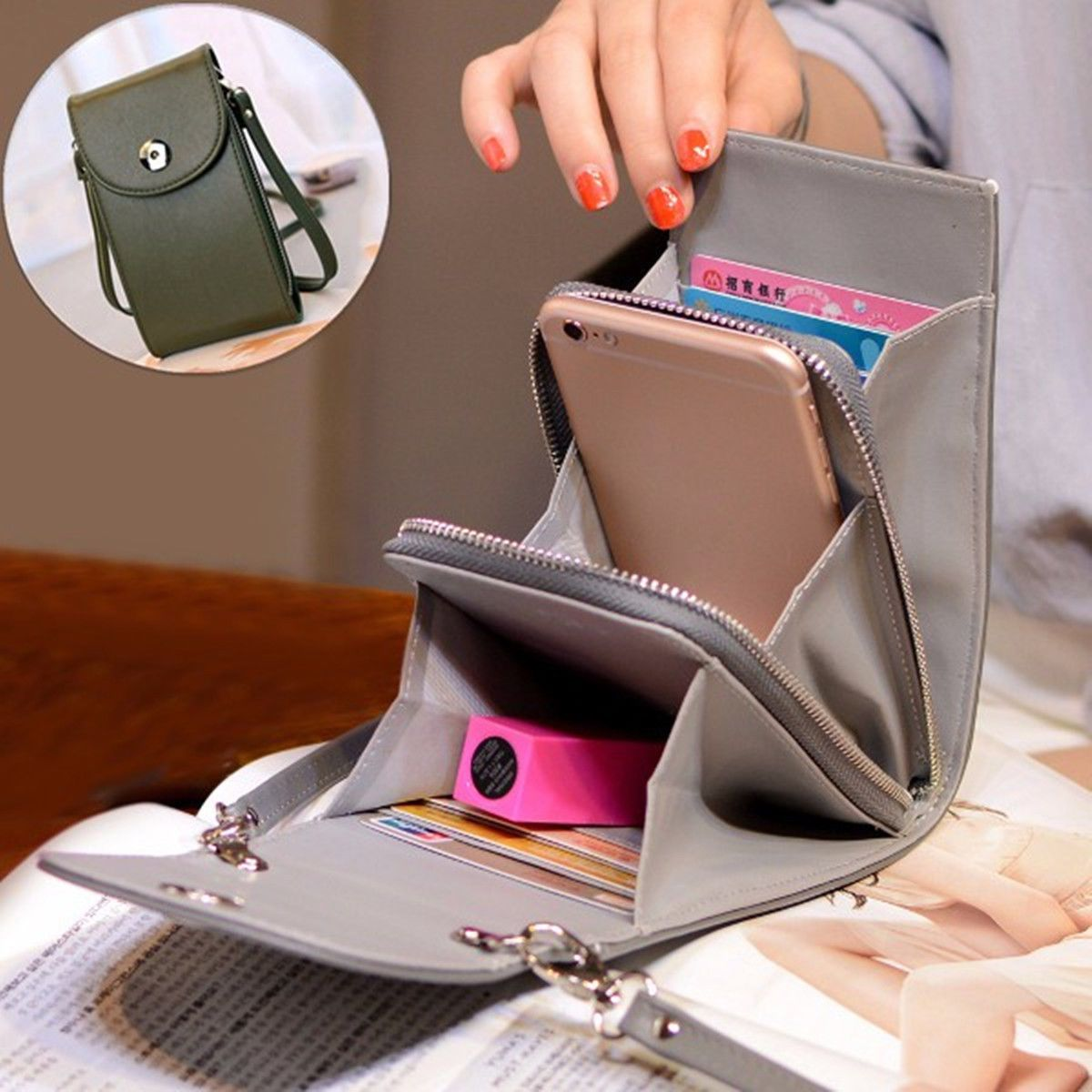 6fcd56bc455b Vintage Women Leather Universal Shoulder Mobile Phone Pouch Crossbody Bag  Purse