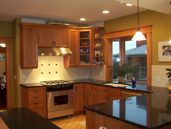 Image Detail For  New Kitchen With Cherry Cabinets, Black Quartz Countertop,
