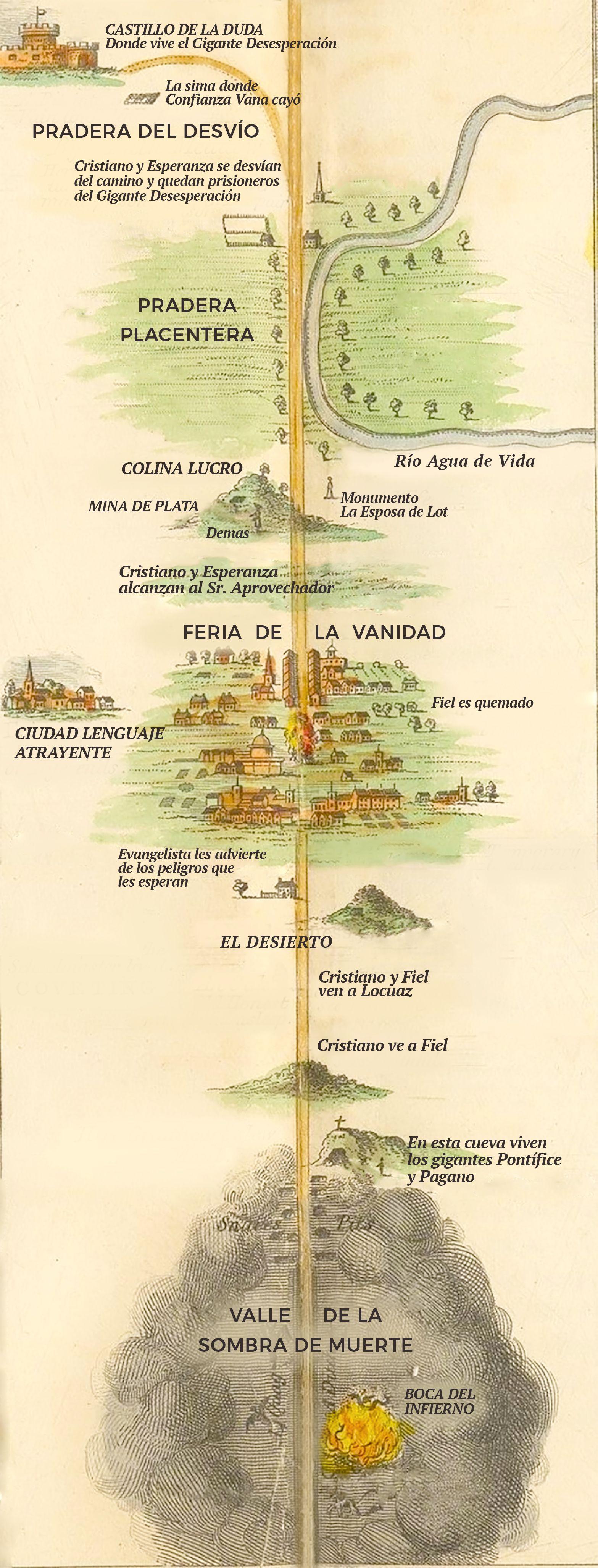 The Pilgrims Progress Map Spanish 23 Mapa Progreso Del