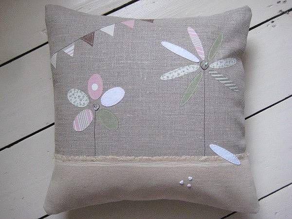 Applique Flower Linen Cushion