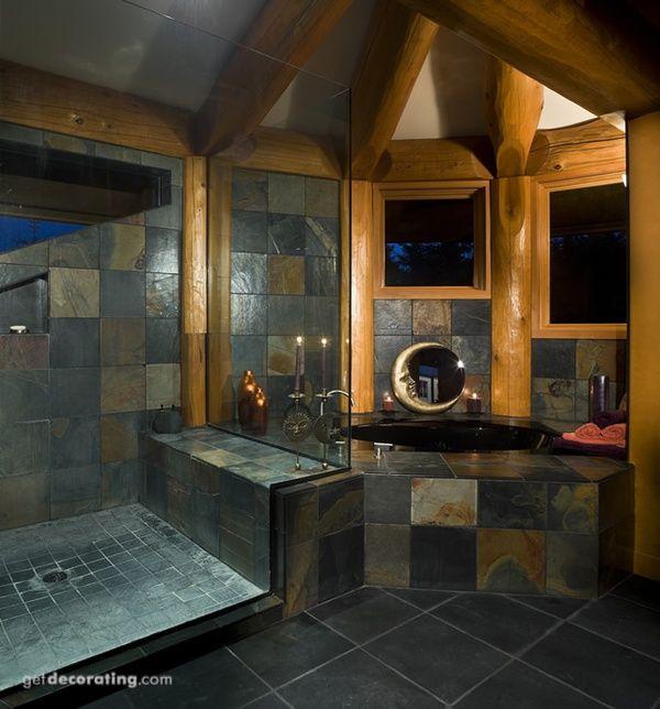 Bathrooms, Master Log cabin bathrooms Pinterest Slate tile