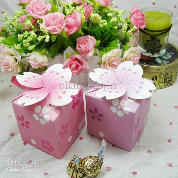 Romantic Sakura Flower Wedding Party Favors Boxes Candy Gift