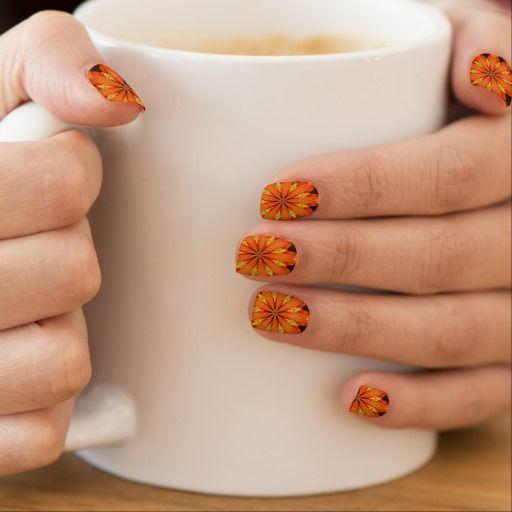 Orange flower Design Minx Nails Fingernail Transfer