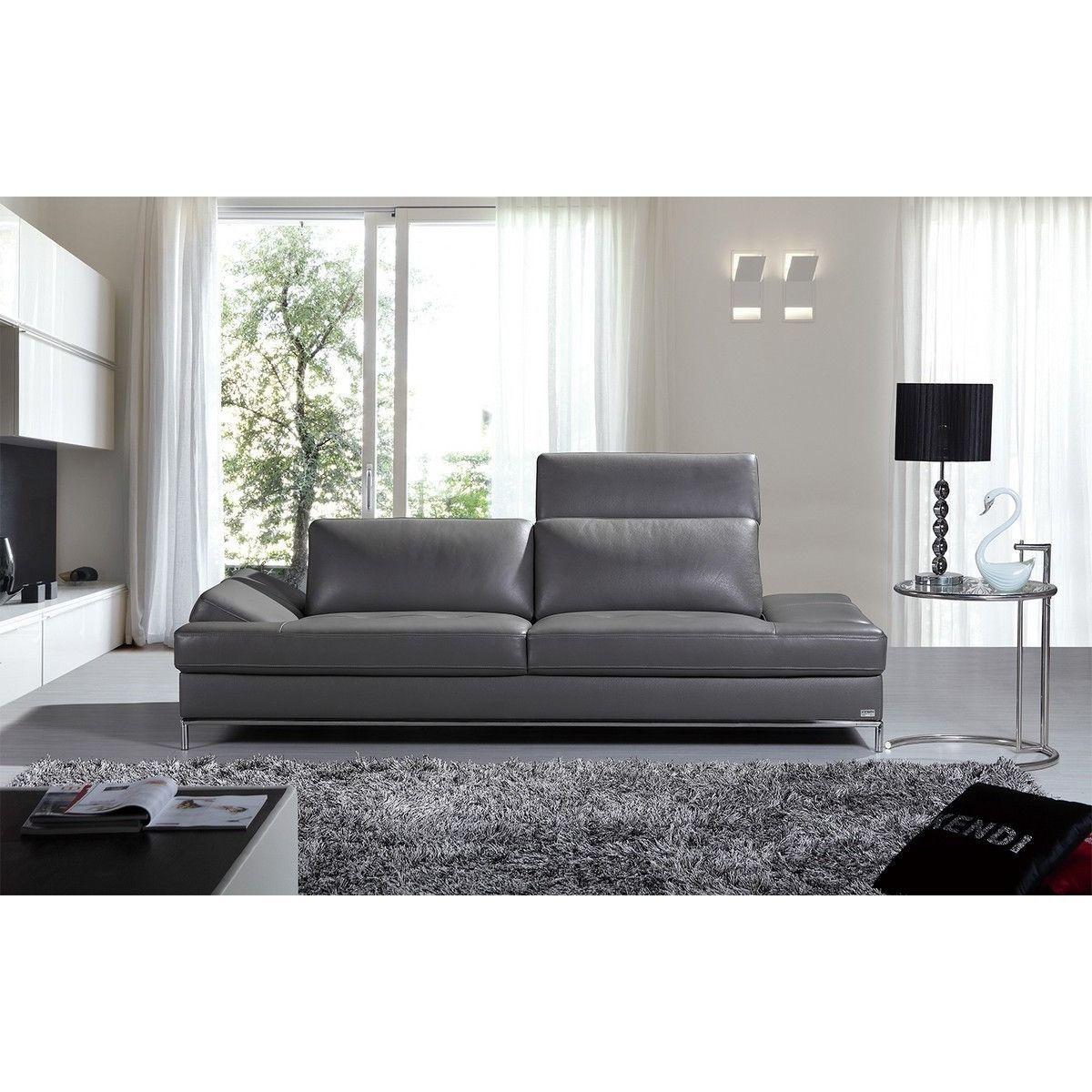 Divani casa izzy modern dark grey ecoleather sofa leather sofas