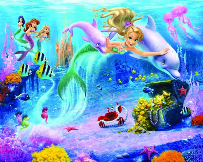 Mermaid Under Water Sea Scene Mermaids Mural By