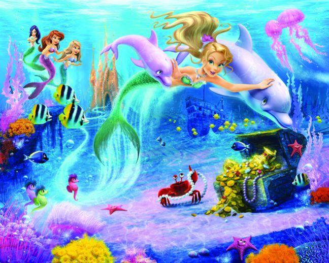 Mermaids Mural By Walltastic Wallpaper Direct Mermaid Wallpapers Childrens Wall Murals Mural