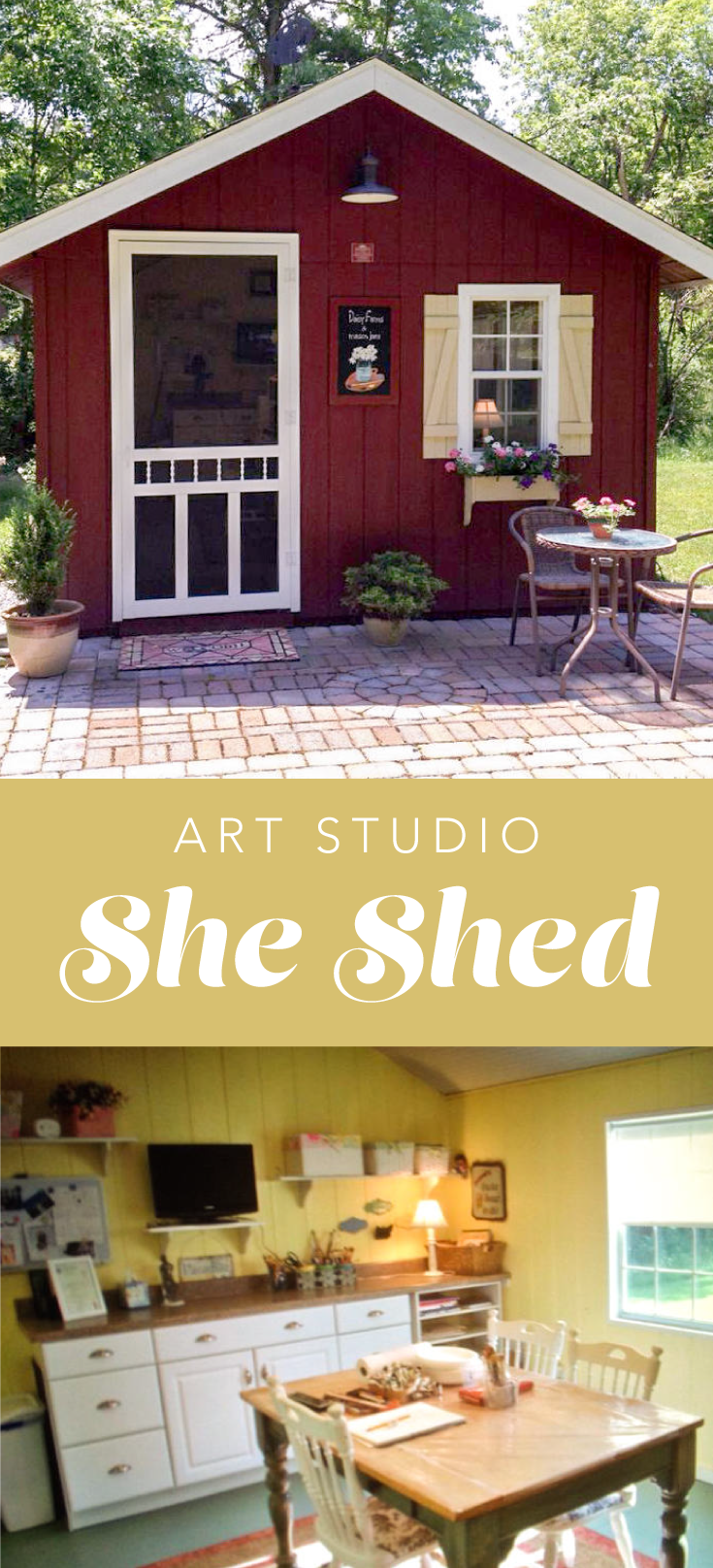 Ideas for painting your garden shed - She Shed Art Studio Donna Purchased A Wood Tex Story A Couple Years Ago