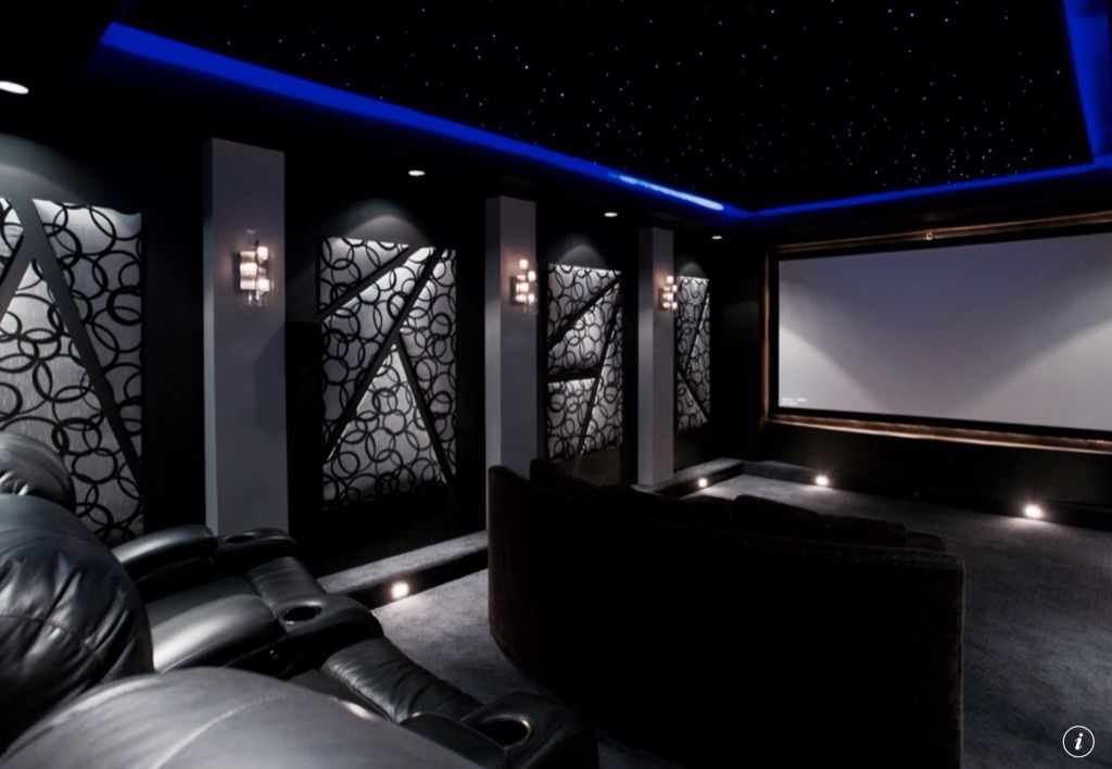Modern Home Theater With Carpet Acoustilight Fiber Optic Ceiling Panels Box Kravet